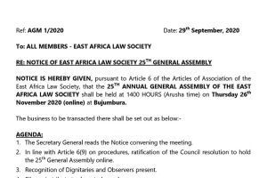 Notice of 25th EALS AGM